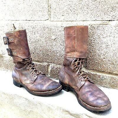 RARE Vintage WWII WW2 1940s Brown Leather Military Combat 40s Tanker Boots 8