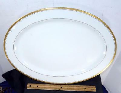 HUGE Vintage Syracuse China Monticello Oval Serving Platter Ivory w/ Gold Trim