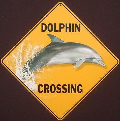 DOLPHIN CROSSING Sign aluminum novelty decor painting home dolphins signs fish