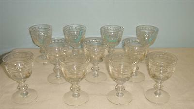 "11 unknown pattern crystal water goblets glasses 5 1/2"" tall x 3 1/2"" wide"