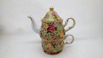 Royal Staffordshire Red & Yellow Roses 3 Piece Stacking Teapot - Lid Heavy Gold