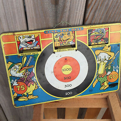"Vintage 1950s MARX Tin Litho Target Toy Shooting Game ""Ring The Bell"" 50s RARE"