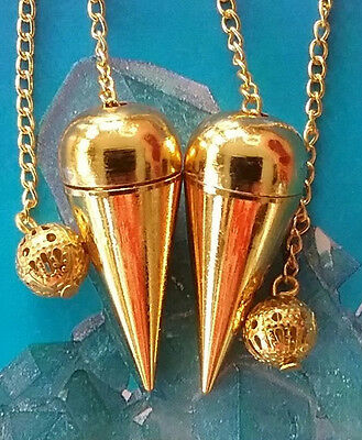 2 Gold Fetish Secret Chamber Dowsing Pendulums With Chains And Storage Pouches