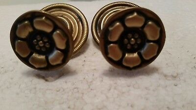 Pair    Vintage   Brass   Drawer Pulls Knobs With Backplates  (96H)