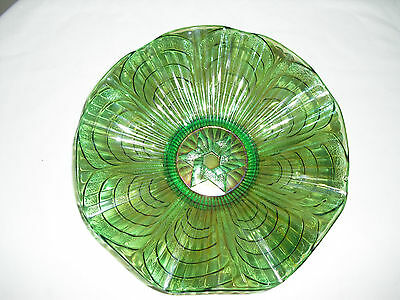 Imperial Green Carnival Glass STAR OF DAVID Ruffled Bowl /Dish/ Plate Iridescent