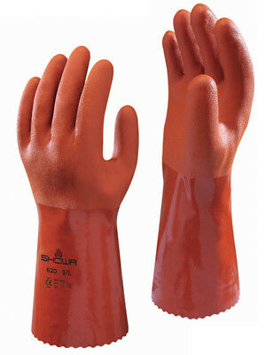 6 Pairs Showa  620 PVC Chemical Resistant Liquid Proof Gloves  FREE SHIPPING!
