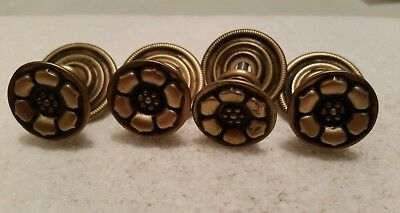 4 Vintage   Brass   Drawer Pulls Knobs With Backplates  (97H)