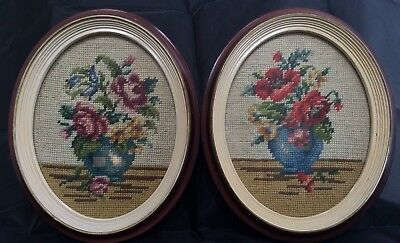 Pair Set of 2 Vintage Antique Oval Framed Floral Needlepoint Pieces