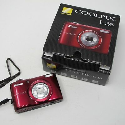 Nikon COOLPIX L26 16.1MP Digital Camera - Red, Tested and Working