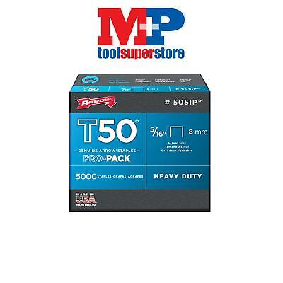 Arrow T50516 T50 Staples 8mm (5/16in) Pack 5000 (4 x 1250)