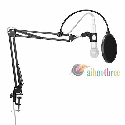 Microphone Stand + Pop Filter Mic Suspension Arm Holder Desktop Mic Boom Bracket
