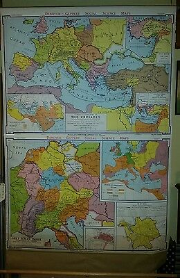 VINTAGE Pull Down School Map -  The Holy Roman Empire and Crusades