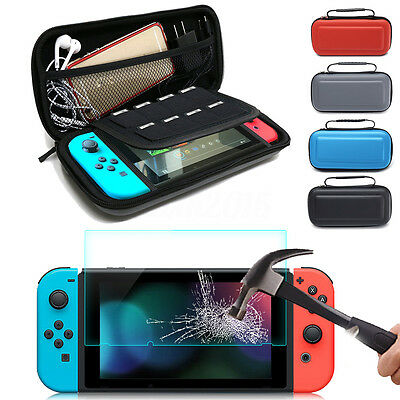For Nintendo Switch Travel Bag Carry Case+Tempered Glass Screen Protector Film v