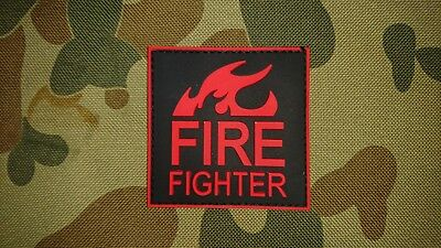 New Fire Fighter Red Black Pvc Tactical Morale Airsoft Patch Australia Seller Au