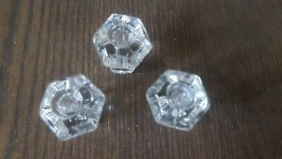 Antique Vintage Lot of 3 Clear Glass Six Sided Cabinet Knob Drawer Pulls