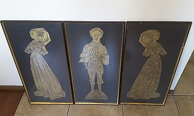 VINTAGE ENGLISH BRASS RUBBING. Sir Thomas Peyton with 1st and 2nd wife's. c.1968