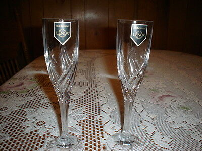 Lot of 2-LENOX DEBUT FINE CRYSTAL FLUTE