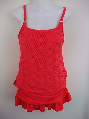 Island Escape Tankini Swimsuit Skirted Add A Size Crochet Coral Size 10 NWT