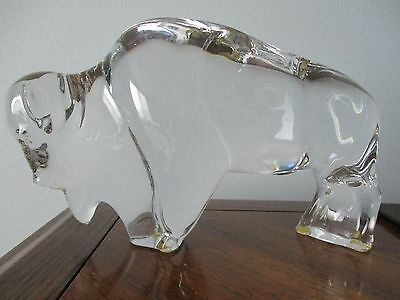 Baccarat France Clear Crystal Glass Buffalo Bison Figurine