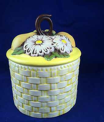 vintage yellow porcelain canister basket weave design fruit daisy lid pear grape