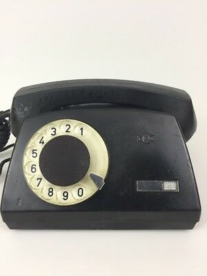 Vintage Rotary Telephone Made in Poland by RWT Black Desk Corded Phone