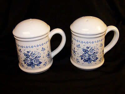 White Porcelain Salt and Pepper Shakers Blue Roses Floral Pattern 4-1/2""