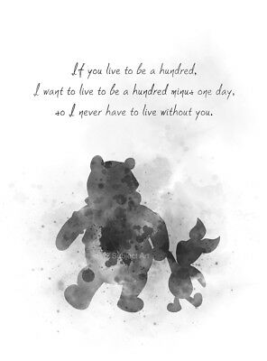ART PRINT Winnie the Pooh and Piglet Quote, Wall Art, Decor, Gift, Disney, B & W