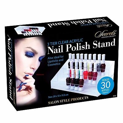 3 Tier Clear Acrylic Nail Polish Stand Hold Approx 30 Bottles