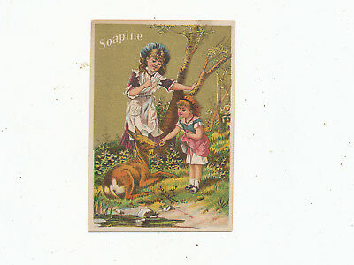 C7507    Victorian Trade Card Soapine Soap Little Girl Feeding A Deer