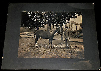 Vintage 1910's  Large Mounted Photo of Man with his Horse in Front of House