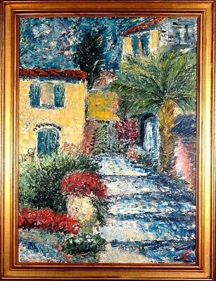 Rare ca.1965 French Riviera Saint Paul de Vence Painting Oil/Canvas/Frame/Signed
