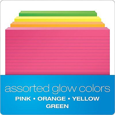 """Oxford Ruled Index Cards, 3"""" x 5"""", Assorted Glow Colors, 300/Pack (81300EE)"""