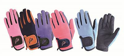 Hy5 Children's Every Day Two Tone Equestrian Horse Riding Gloves 10709P