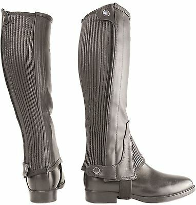 Hy Leather Half Chaps for Horse Riders Brown/ Black Size XS-XL 5035P