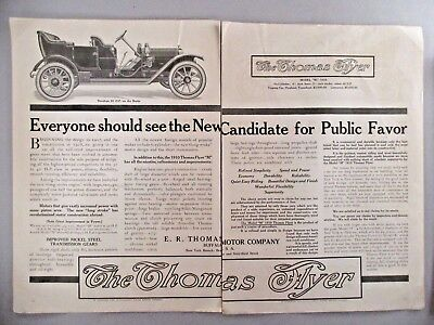 Thomas Flyer Motor Car Double-Page PRINT AD - 1909