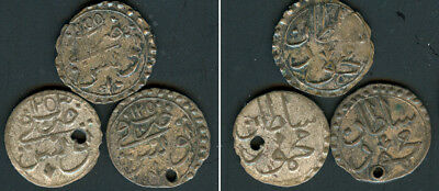 OTTOMAN TUNISIA TURKEY  Lot of 3 Kharubs Mahmud II KM 91. Yrs 1250, 1253, 1255AH