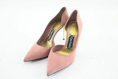 NWT $890 Tom Ford Pink Suede Half d' Orsay Pump Heels Size 6