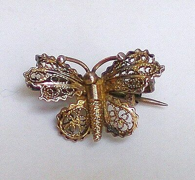 Antique Vintage Gilded Solid Silver 800 Butterfly Filigree Brooch Pin  grams