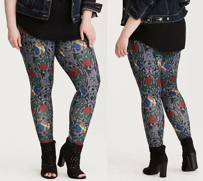 Torrid Beauty & the Beast Stained Glass Leggings Pants Womens Plus Size 2X 3X 4X