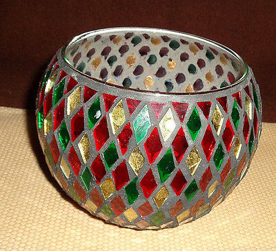 """4.5"""" Tall Mosaic Dish: Use For Vase/Candy/Candles"""