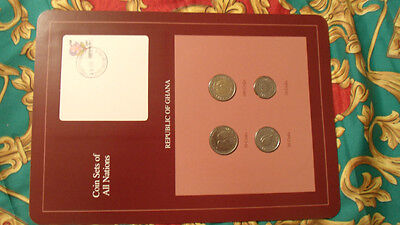 Coin Sets of All Nations Ghana w/card UNC 100, 50, 20, 10 Cedis 1991