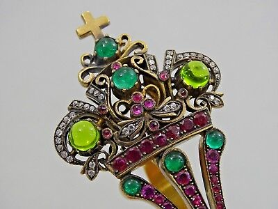 Antique Russian 84 Silver Kovsh Diamonds Ruby Emerald Gem Set Jewelry Quality