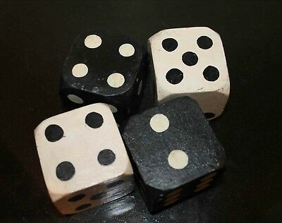 TWO PAIRS of Large Painted Vintage WOODEN DICE, Antique Pair Large Novelty Dice