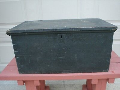 Early Antique Primitive Wood Box Black Color Four Dove Tail Corners Collectable