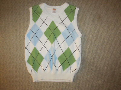 GYMBOREE boys WHITE ARGYLE SWEATER VEST sz L LARGE 10 12