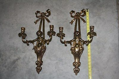 """2 Antique French Rocco Style Cherub Brass Wall Sconce Candle-holder w Ribbon 22"""""""