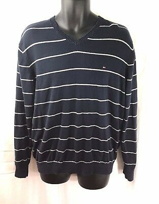TOMMY HILFIGER Men's Sweater Size Large Stripes Blue Gray Pull Over V-Neck   N13