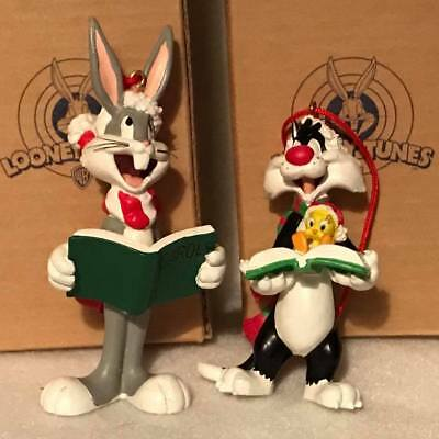 2 Avon Looney Tunes Christmas Ornaments Sylvester & Tweety And Bugs Bunny