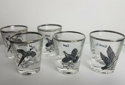 Richard Bishop Wild Game Bird Vintage Silver Rimmed Shot Glasses Canada Goose