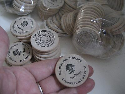 Lot of 25 Pc Vtg Round WOODEN NICKELS Natural Woodenware TREE SPIRIT Crafting